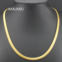 50 5cm 6mm Stainless Steel 18K Gold Plated Flat Snake Necklaces Chain Mens Womens Jewelry 2014