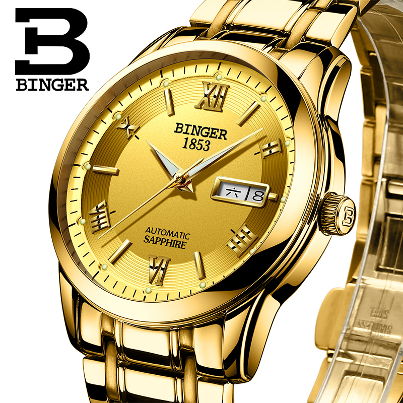 Switzerland watches men luxury brand Wristwatches BINGER luminous Automatic self-wind full stainless steel Waterproof  BG-0383-2 switzerland watches men luxury brand wristwatches binger luminous automatic self wind full stainless steel waterproof bg 0383 4