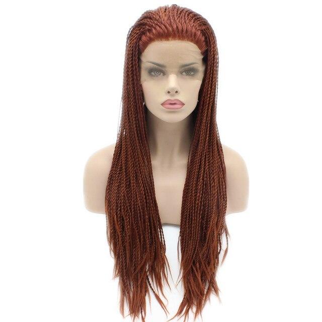 Cheap Synthetic Braiding Auburn Hair Wig