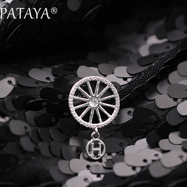 PATAYA New Arrivals Fashion Letter H Hanging True White Gold Brooches Cute Pinwheel Natural Zircon Luxury Jewelry For Women