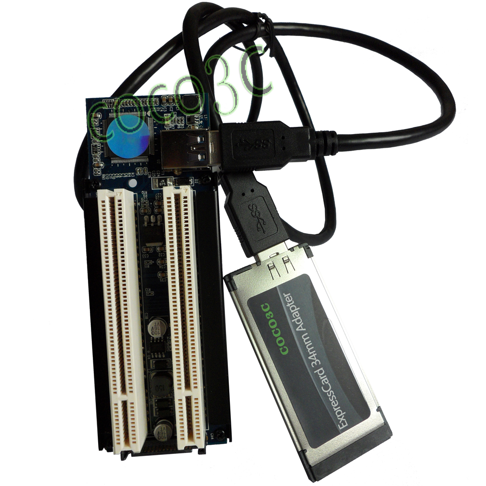 цена на Laptop Expresscard 34 To 2 PCI 32bit slots adapter Express Card Riser card for PCI sound card serial parallel card