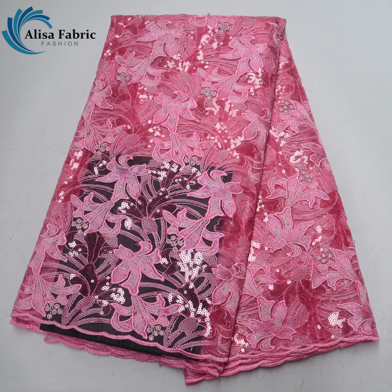 Baby Pink African French Lace Fabric New Design Nigeria Embroidered And Sequins Lace Stone With Beads