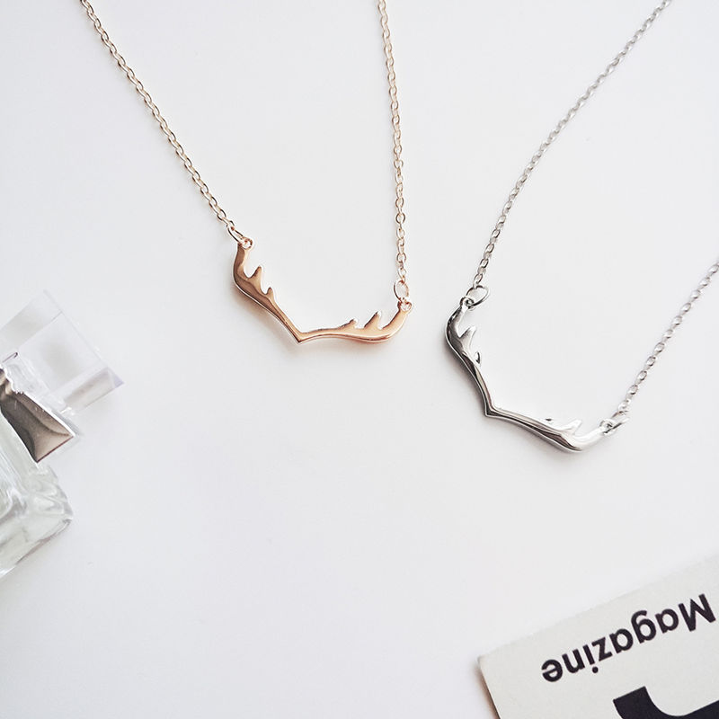 Christmas alloy rose gold antler pendant necklace chain ladies jewelry best friend gift jewe