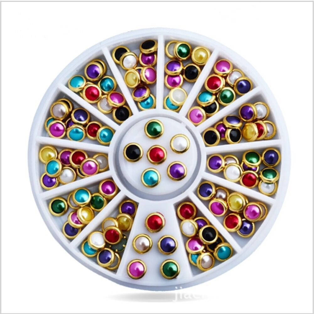 Mix Colorful Half Round Pearl Nail Art Decoration with Metal Studs Rhinestones 1*Wheel Glitter Nail Rhinestone Decoration Tools 1 box gold matte nail art rhinestone studs wheel 3d metal square triangle shaped nail decoration accessories