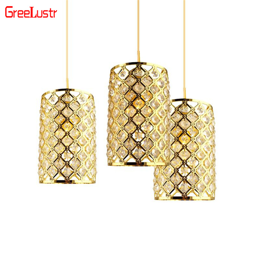 Led Chandelier Modern Lustre Crystal Pendant Lamp Gold Hanging light For Bar Cafe Shop Luminaria E27 indoor lighting FixturesLed Chandelier Modern Lustre Crystal Pendant Lamp Gold Hanging light For Bar Cafe Shop Luminaria E27 indoor lighting Fixtures
