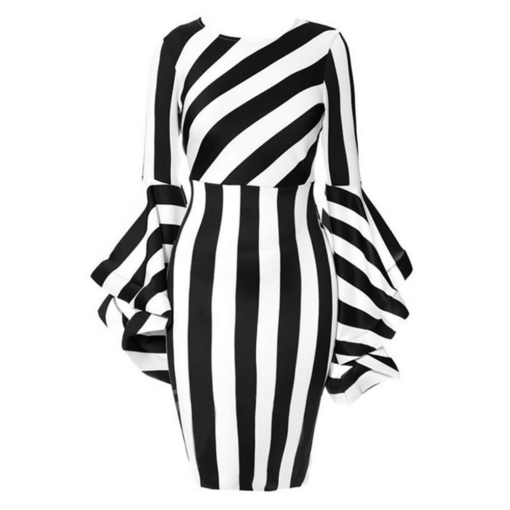 a532d3c380bec Women's Vertical Diagonal Striped Stitching Flounce Long Horn Sleeve Round Neck  Midi Waist Casual Plus Size Elegant Dress 6XL