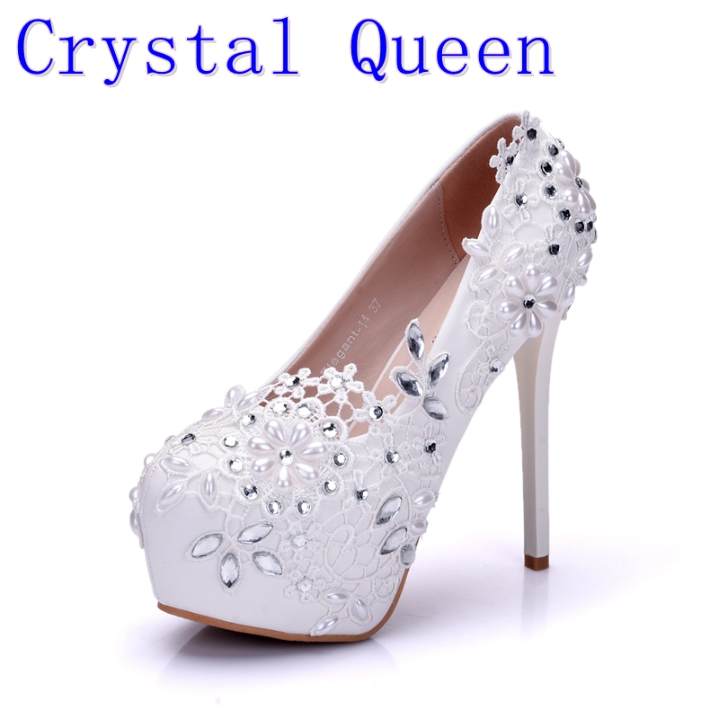 Crystal Queen Fashion Lady White Wedding Shoes Bridesmaid Bridal Shoes Rhinestone Lace Shoes High Heels Women Pumps new arrival white wedding shoes pearl lace bridal bridesmaid shoes high heels shoes dance shoes women pumps free shipping party
