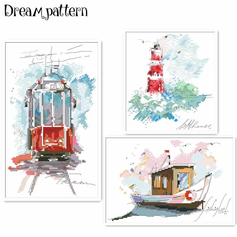 Urban tram Seaside lighthouse cross stitch package cartoon 18ct 14ct 11ct cloth cotton thread embroidery DIY handmade needlework