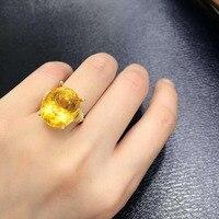 Ювелирные изделия Anillos Qi Xuan_Fashion Jewelry_Yellow камень Мода Rings_S925 Твердые серебряные женские желтый Rings_Factory непосредственно продаж