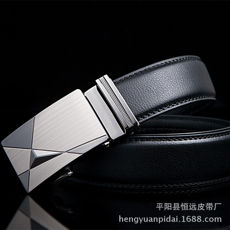 New 2019 Business style automatic   belt   men high quality top cow genuine leather luxury strap male Simple business brand designer