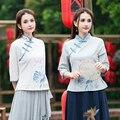 2017 Женщины весна осень этническая три четверти рукава цветочные блузка рубашка топ косплей костюмы традиционный Китайский clothing