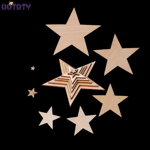 10mm 60mm Wooden Stars Shapes Laser Cut Blank Embellishments Craft Diy S Bo Ng Decor