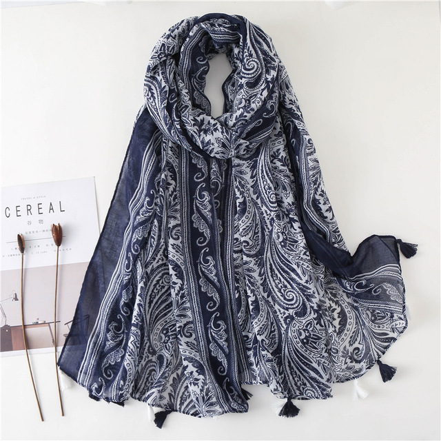 9fcaa2f122a US $8.15 32% OFF|women ethnic scarf female autumn winter Chinese style  ethnic classic long blue printed neck scarf echarpe femme hiver-in Women's  ...