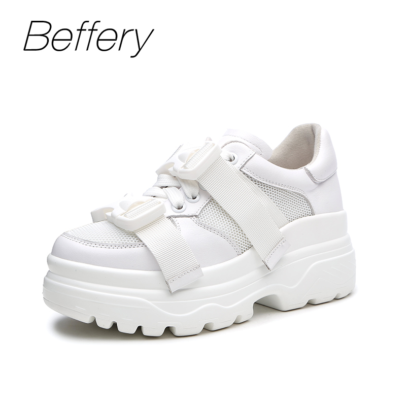 Beffery 2018 New Women Genuine Leather Sneakers Fashion Thick bottom Platform Shoes For Women Lace-up Casual Shoes girl Sneakers beffery women s shoes british style patent leather flat shoes fashion thick bottom platform shoes for women lace up casual shoes