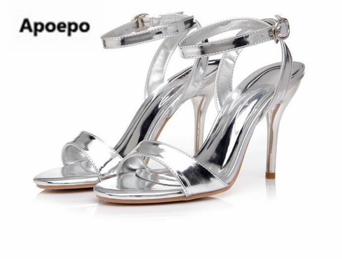 Date or argent miroir femmes sandales 7 cm/9 cm plate-forme talons chaussures femmes été cheville sangle sexy robe chaussures taille 41 - 3