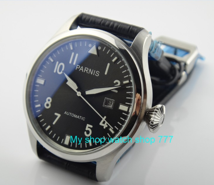 47mm PARNIS big pilot Automatic Self Wind movement Green luminous men watches high quality Mechanical Wristwatches