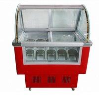 Низкая Температура 18c 6 ствола 10 бака трудно мороженое Стекло Дисплей шкаф витрина морозильная камера