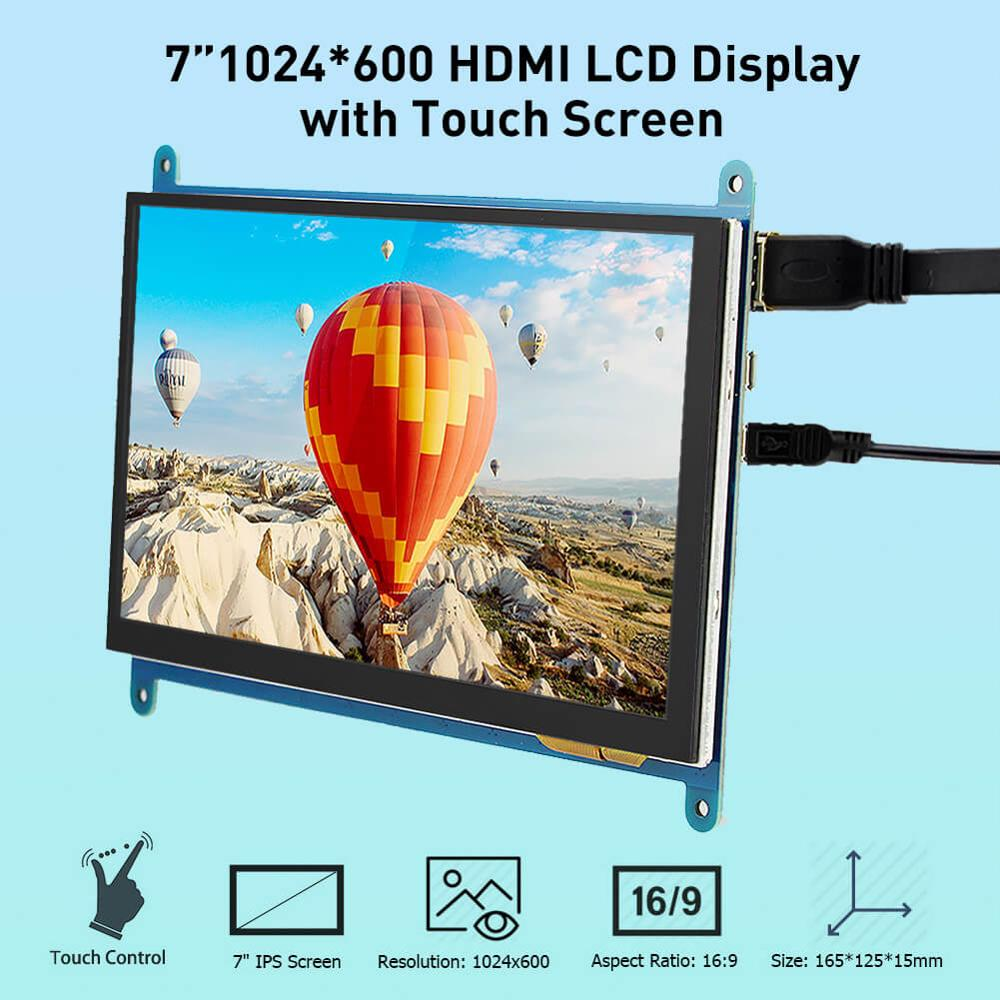 Elecrow 7 Inch Raspberry Pi LCD Display HDMI Monitor 1024X600 HD TFT with Touch Screen for 3 2B B
