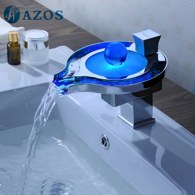 Bathroom Basin Faucets LED Light Chrome Polish Waterfall Spout Deck Mount Single Handle Hot Cold Water Toilet Furniture MPPB029