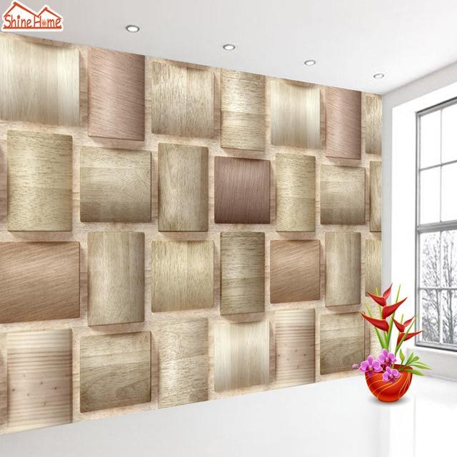ShineHome 3d Ziegel Holz Muster Überprüfen Tapeten Wandbild Rollen 3 D  Tapete Für Wand Wohnzimmer