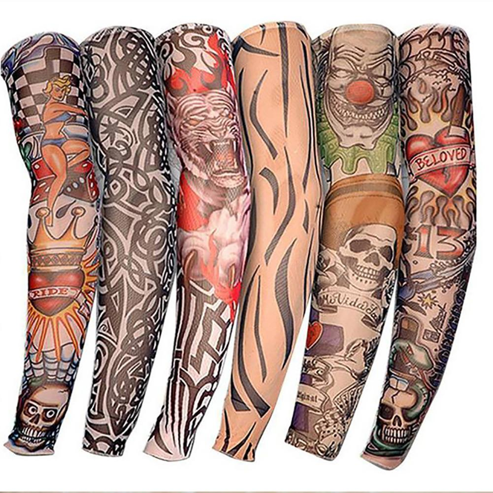 6PCS Mens Cycling Sports Tattoo Sleeves UV Cool Arm Sleeves Summer Running Arm Warmer Sport Elastic Oversleeve Arm Warmers