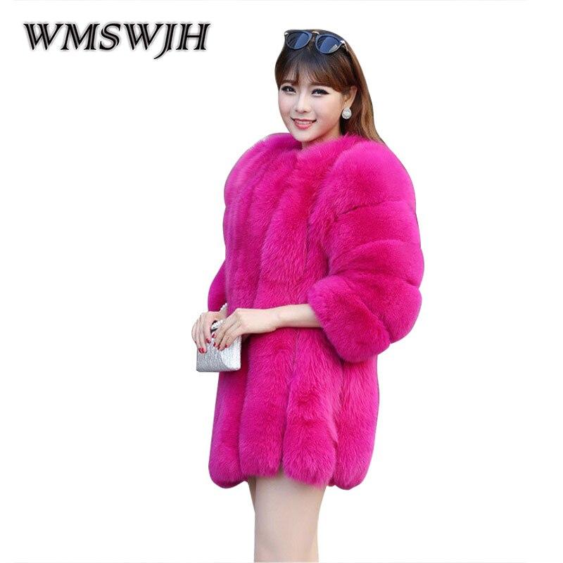 Fourrure Manteau Femme Wmswjh Femmes Artificielle Haute pink blue Ws86 Solide Qualité Red Survêtement Wine Élégant Femelle De white Hiver vv8Sw