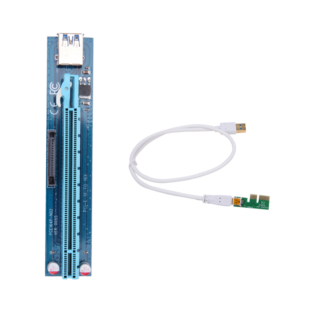 все цены на  10pcs USB Mini PCI-E to PCI-E PCI Express 1X To 16X Extender Riser Adapter Card Cable 60CM For Bitcoin Mining Dropship  онлайн
