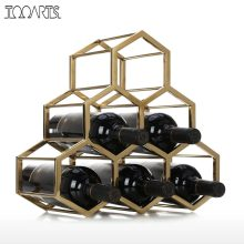 Honeycomb Red Wine Rack Metal Wine Holder Innovative Wine Holder 6 Bottle Rack Horizontal Storage Free Standing Home Decor(China)