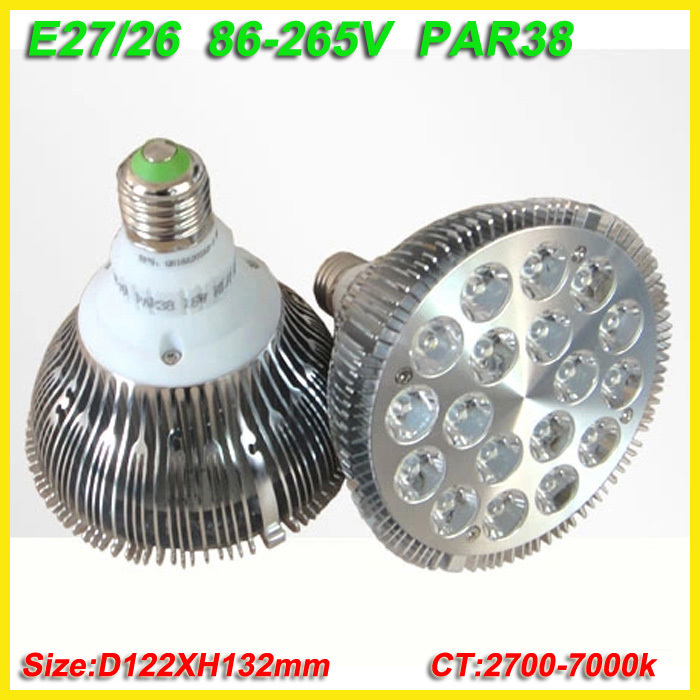 4XWholesale CE RoHS E27 36W Par 38 LED PAR38 Bulb Lamp 85-256V with 18 LEDS Light warranty 2 years drop shipping 125a 220v 2p e industrial male plug 3pins with ce rohs 1 year warranty