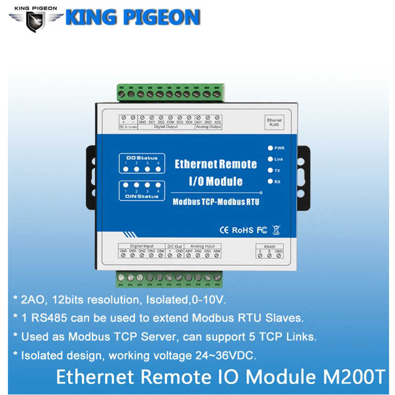 Modbus TCP Ethernet RJ45 to RS485 Converter Data Acquisition 2 Analog Supports Register Mapping Inquiry for VFD control M200T