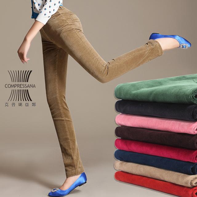 O Envio gratuito de 2017 Nova Moda Outono E Inverno De Veludo Calças Plus Size 26-38 Casual de Alta Cintura Grossa Quente calças de Veludo