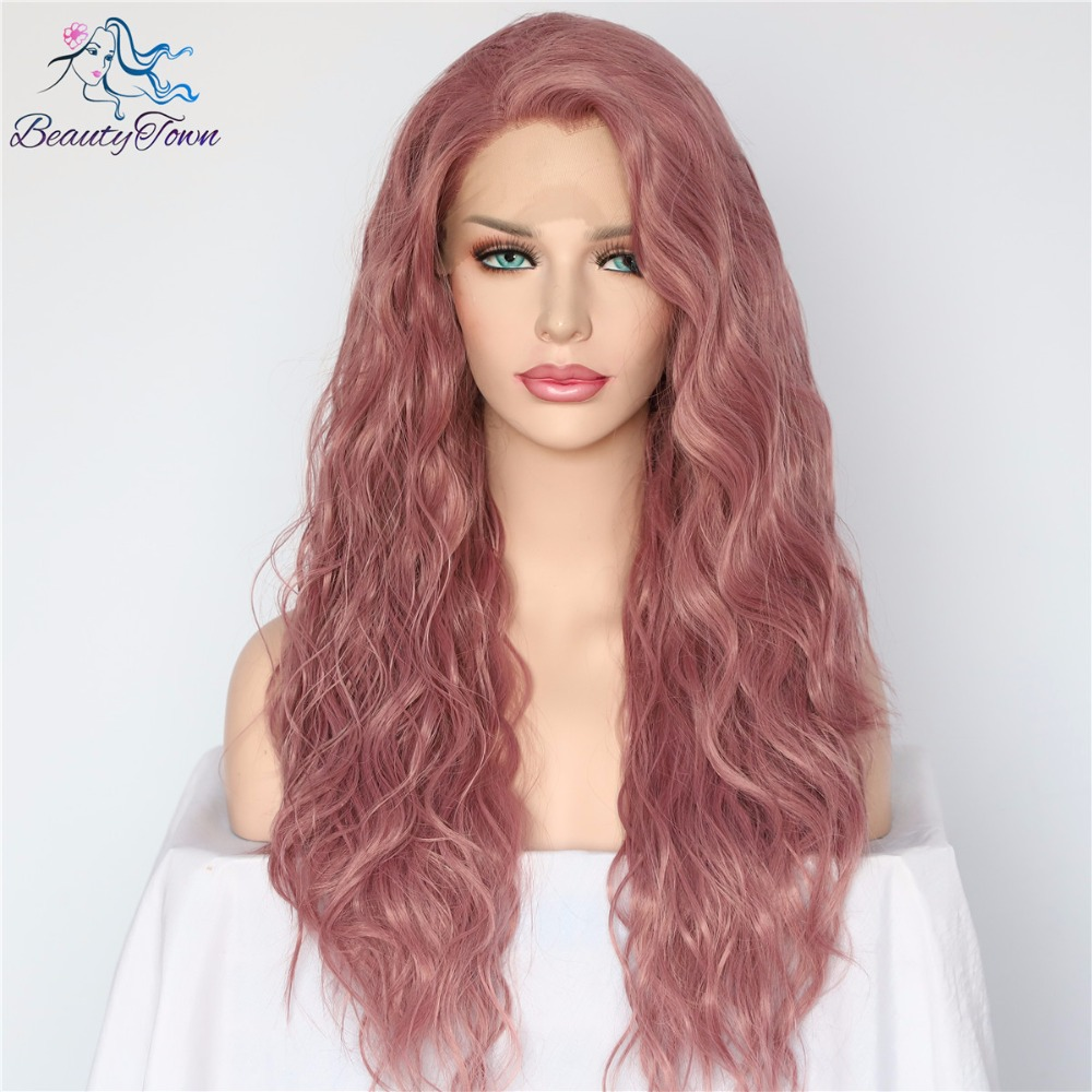 BeautyTown Purple Red Natural Water Wave Hair Masquerade Women Makeup Wedding Party Gift Glueless Synthetic Lace