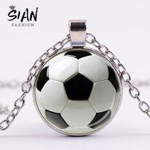 SIAN Novelty Fashion Soccer Pendant Necklace Football Art Photo Glass