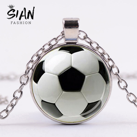 SIAN Novelty Fashion Soccer Pendant Necklace Football Art Photo Glass Cabochon Long Necklace Men Boy Children Gift Sport Jewelry Pakistan