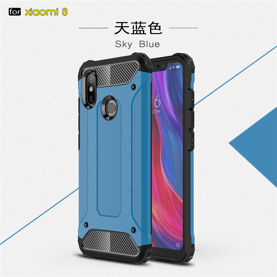 Shockproof Protective Armor Phone Cases For Xiaomi Mi 8 Silicone Plastic Back Cover For Xiaomi Mi 8 Pc Tpu Cover With Dust Plug For Sale Cellphones & Telecommunications