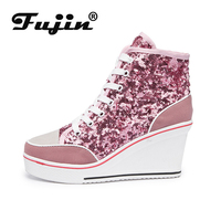 Fujin Korean Version of 8 Cm Raised Women Shoes Dropshipping Slope Bright Piece Band Cake Bottom Casual Thick Bottom High Shoes