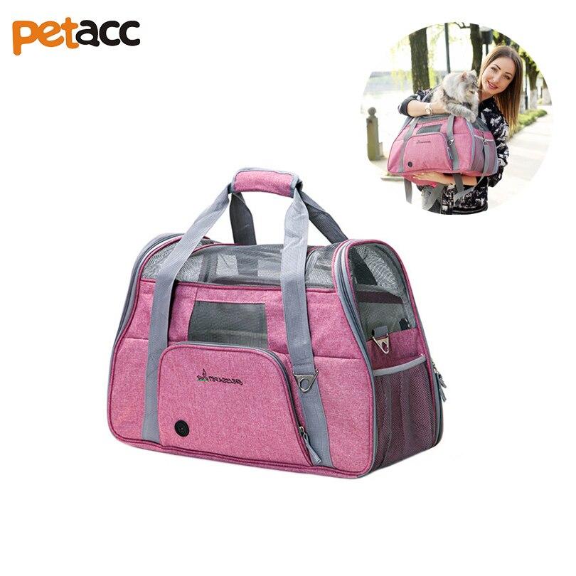 Petacc Pet Carrier Respirant Chien Chiot Transporteur Voyage Sac avec Poches Multiples Rose