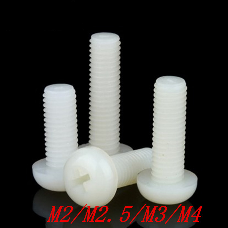 50pcs/lot white Plastic Nylon M2 M2.5 M3 M4 Round Pan Phillips Head Screw Bolt 50pcs lot [50pieces lot] hd7406p dip14