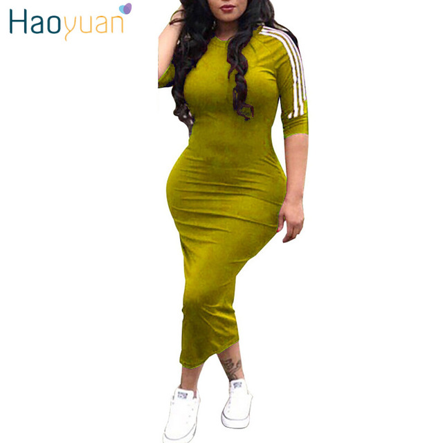 HAOYUAN Women plus size dress vestidos 2018 summer dresses striped half sleeve street wear beach robe sexy midi bodycon dress