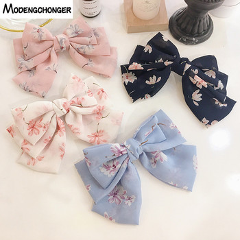 High Quality Big Large Hairgrips Girls Hair Bow Printing Flower 3 Layers Chiffon Barrette Hair Clips Hairpins Hair Accessories big large barrette two levels chiffon hair bow love heart hair clip for women girls hairgrips sweet new fashion hair accessories