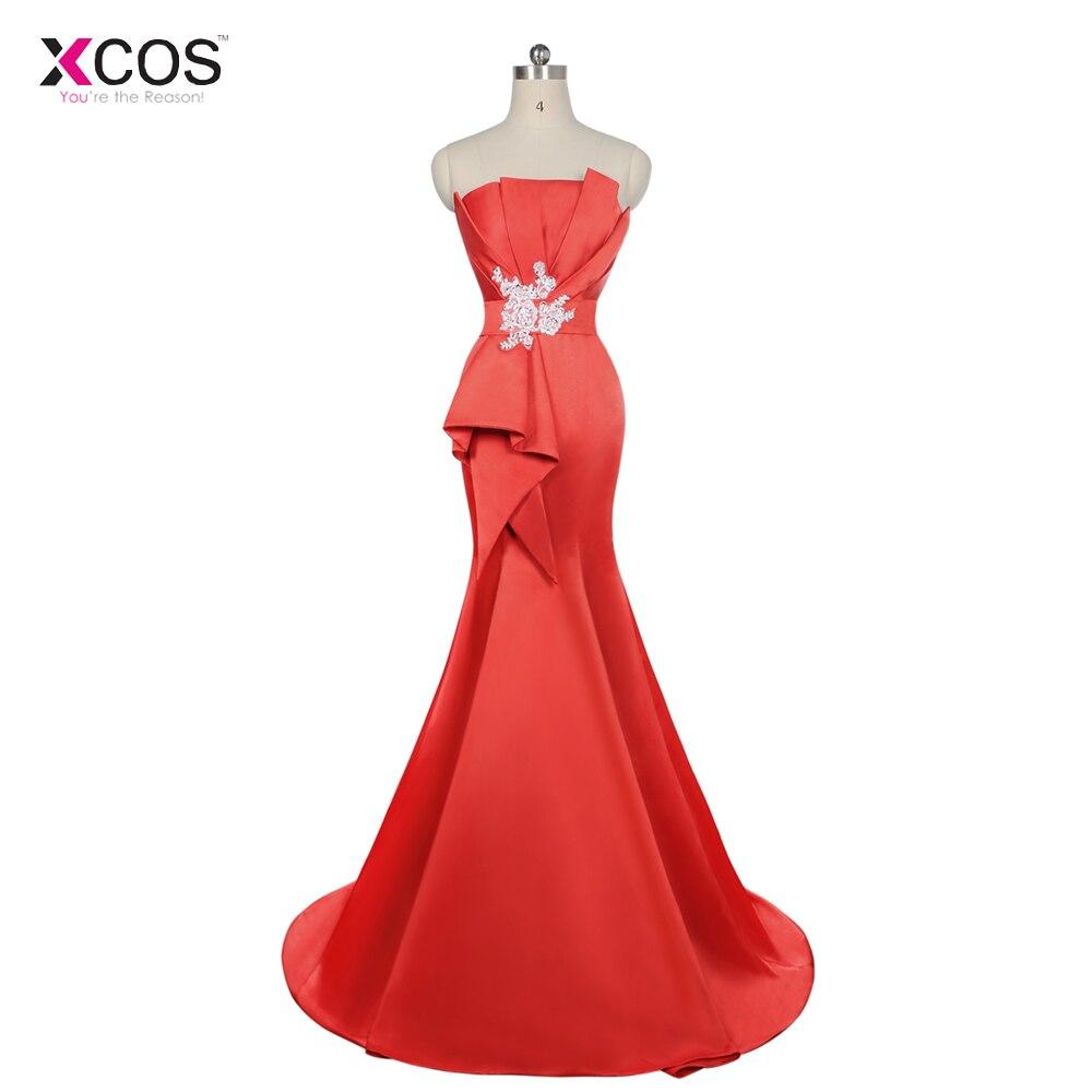 New arrival Elegant Party   Dress     Prom     Dresses   Long   Dress   Vestido de Festa Mermaid Red Satin Long Gown Custom Made
