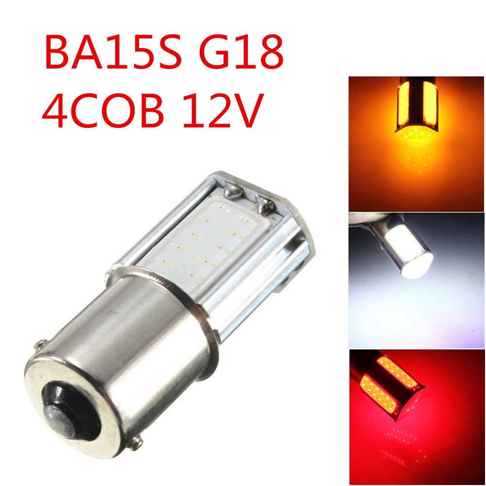 CYAN SOIL BAY 1156 G18 Ba15S 4 COB Yellow Amber White Red LED Turn Signal Rear Light Car Bulb Lamp 12V 1157 BAY15D 10x car 9 smd led 1156 ba15s 12v bulb lamp truck car moto tail turn signal light white red blue yellow ba15s 1156 aa