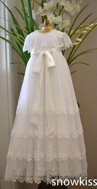 Hecha blancos / de marfil de seda de encaje niños traje de bautizo bautismo para niños niñas infantiles