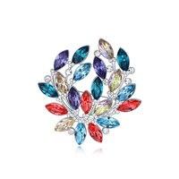 2015 عالية الجودة ورقة بروش كريستال دبابيس دبابيس صنع مع عناصر سواروفسكي مجوهرات للنساء