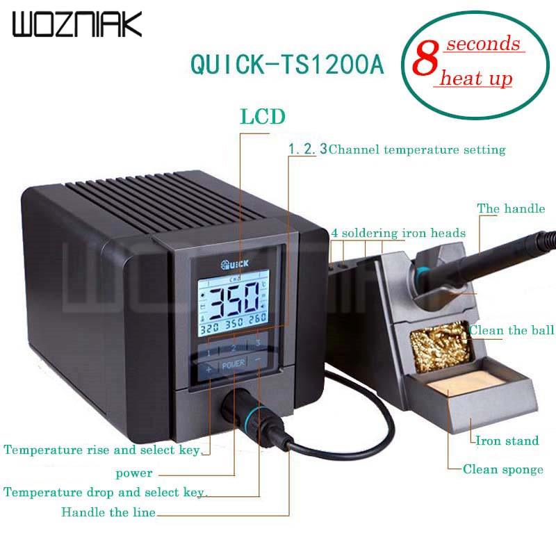 QUICK TS1200A intelligent lead free iron soldering station electric iron 120W anti static soldering 8 second fast heating tool