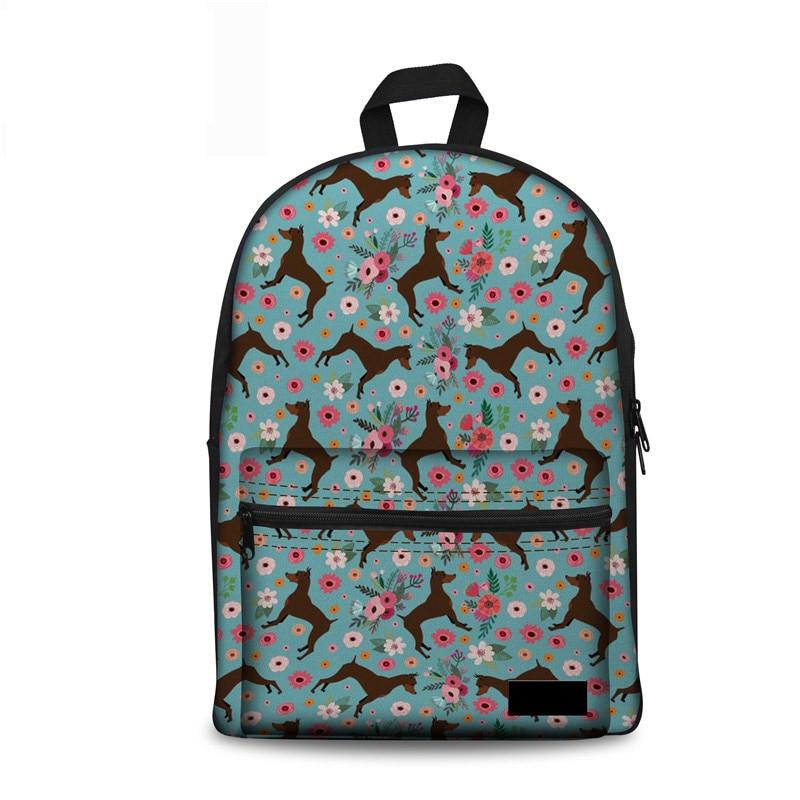Women Canvas School Bag Miniature Pinscher Flower Printing Schoolbag For Kids Girls Large Rucksack Brand Bagpack Bookbag