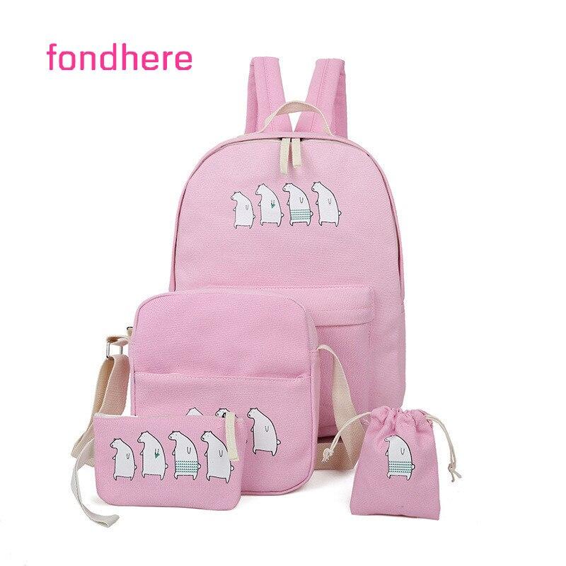 fondhere 4 Pcs/set Women Canvas Backpack Set Bear Printing Preppy Style School Bags For Teenagers Girls Backpacks Set Bookbags
