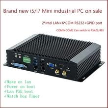 6 COM Dual LAN Fanless Mini PC Intel 4GEN RS232,422,485 COM USB WIFI industrial PC Desktop Computer