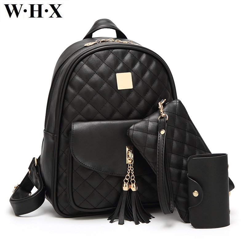 WHX Women Backpack Bag Female Backpacks Leather Knapsack Lady Girls Satchel Student Book School Bag With Clutch Card Bags 3 Set takem 2018 new women backpack 3 piece set pu leather lady laptop backpacks card package hairball decorative fashion bags