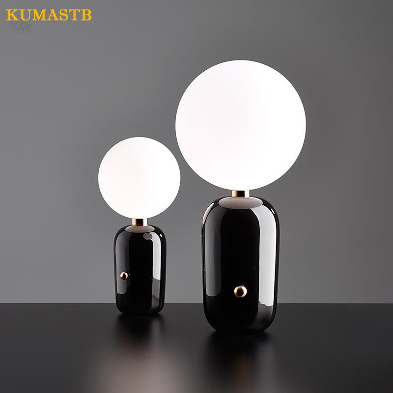 Nordic Modern Glass Ball Table Lamps Gold White Black Metal Body Abajur Bedroom Bedside Lamp Living Room Lampara de Mesa KUMASTB 100m led diving flashlight diver torch scuba flashlights underwater light 3200lumen cree xm l2 lamp rechargeable waterproof